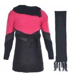 Other - NWT ~ Girls Chevron Waist Sweater Dress w/Scarf